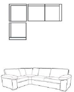 Mars Sofa Collection Corner Settee 3 Piece LHF 1 Seat with Arm / Corner Unit / RHF 2 Seat with Arm C