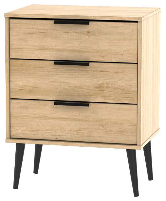 Bahrain Bedroom Collection 3 Drawer Midi Chest Nebraska Oak