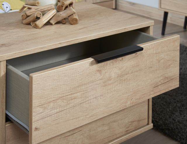 Bahrain Bedroom Collection 3 Drawer Chest Nebraska Oak