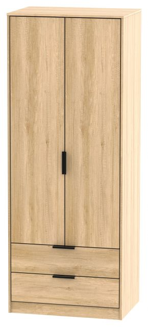 Bahrain Bedroom Collection 2 Drawer Wardrobe Nebraska Oak