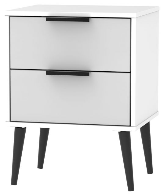 Bahrain Bedroom Collection 2 Drawer Locker Grey Matt with White Base