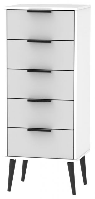 Bahrain Bedroom Collection 5 Drawer Locker Grey Matt with White Base