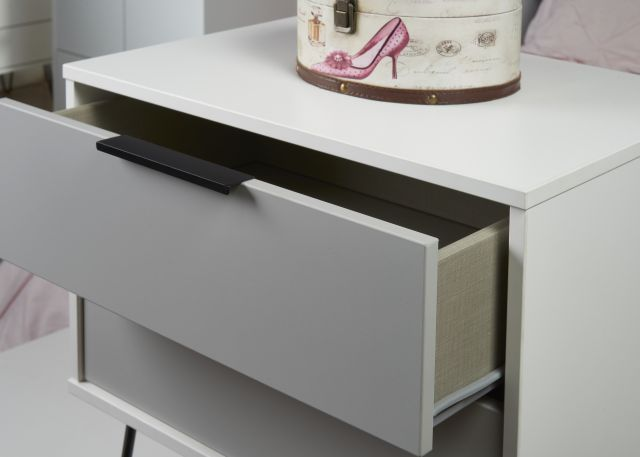 Bahrain Bedroom Collection 2 Drawer Midi Chest Grey Matt with White Base