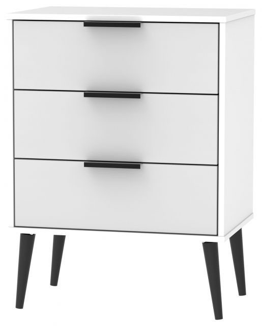 Bahrain Bedroom Collection 3 Drawer Midi Chest Grey Matt with White Base