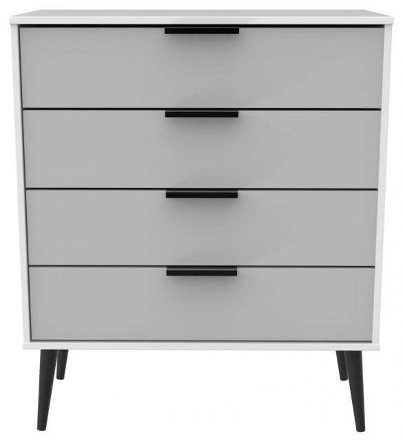 Bahrain Bedroom Collection 4 Drawer Chest Grey Matt with White Base