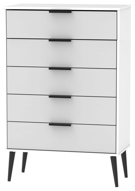 Bahrain Bedroom Collection 5 Drawer Chest Grey Matt with White Base