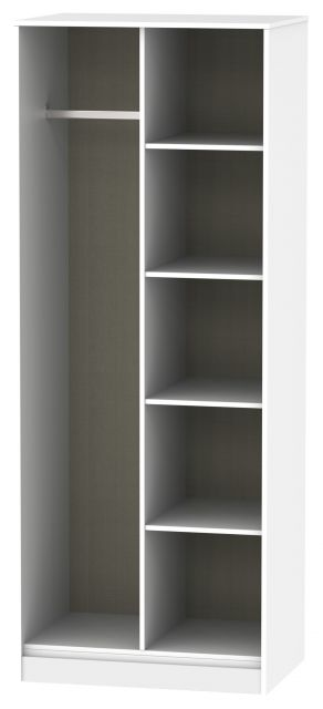 Bahrain Bedroom Collection Open Shelf Wardrobe Grey Matt with White Base