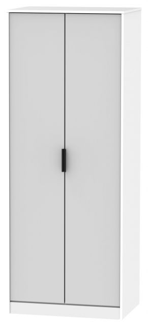 Bahrain Bedroom Collection 2 Door Wardrobe Grey Matt with White Base