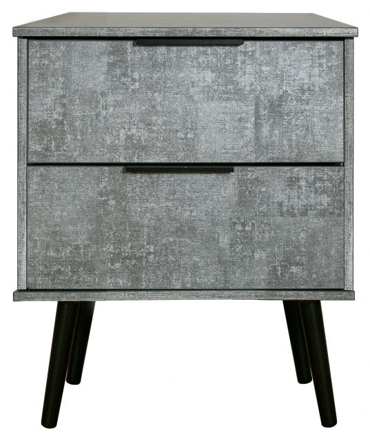 Bahrain Bedroom Collection 2 Drawer Locker Pewter