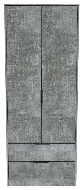 Bahrain Bedroom Collection 2 Drawer Wardrobe Pewter