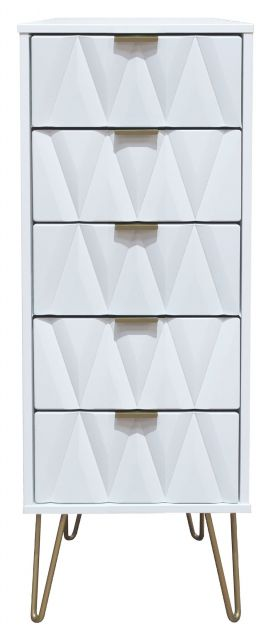 Qatar Bedroom Collection 5 Drawer Locker  White Matt with White Matt Base