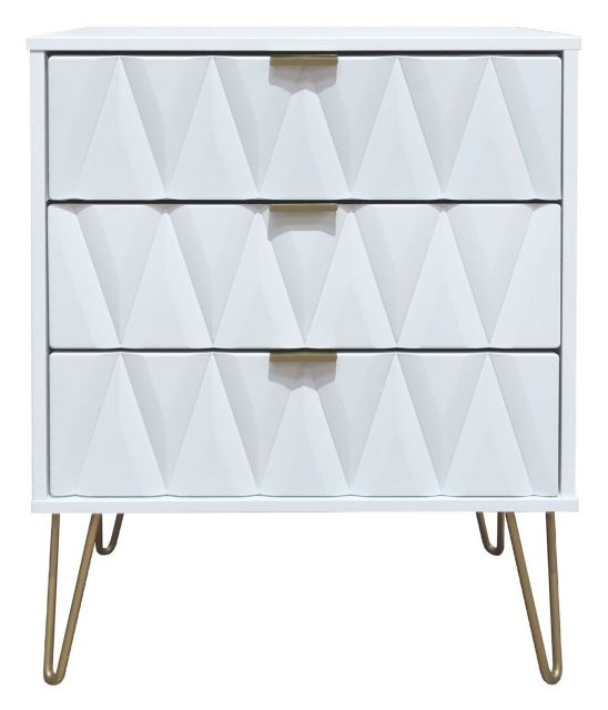 Qatar Bedroom Collection 3 Drawer Midi Chest  White Matt with White Matt Base