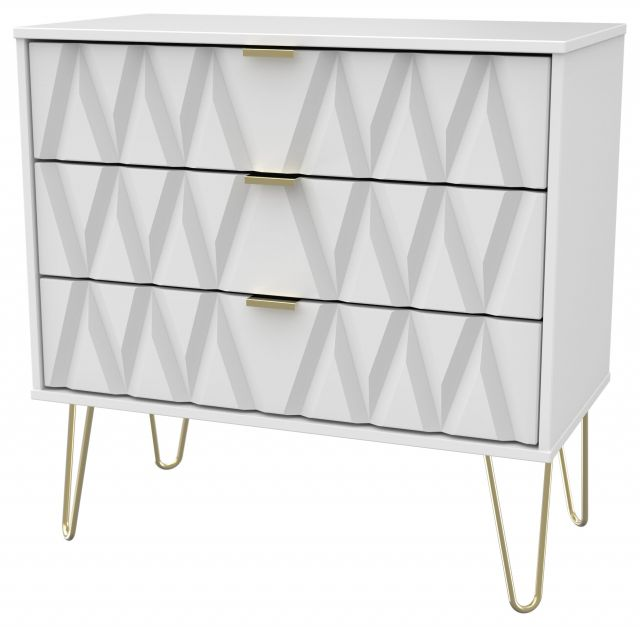 Qatar Bedroom Collection 3 Drawer Chest  White Matt with White Matt Base