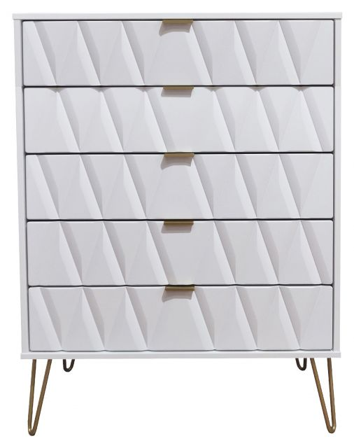 Qatar Bedroom Collection 5 Drawer Chest  White Matt with White Matt Base