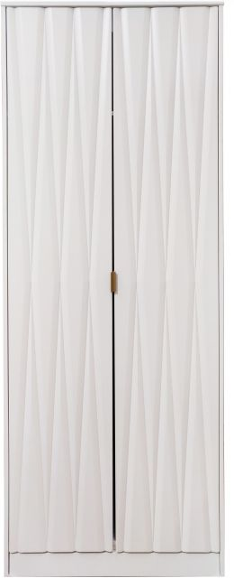 Qatar Bedroom Collection 2 Door Wardrobe  White Matt with White Matt Base