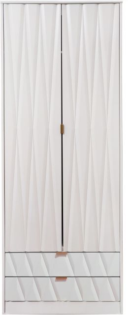 Qatar Bedroom Collection 2 Drawer Wardrobe  White Matt with White Matt Base