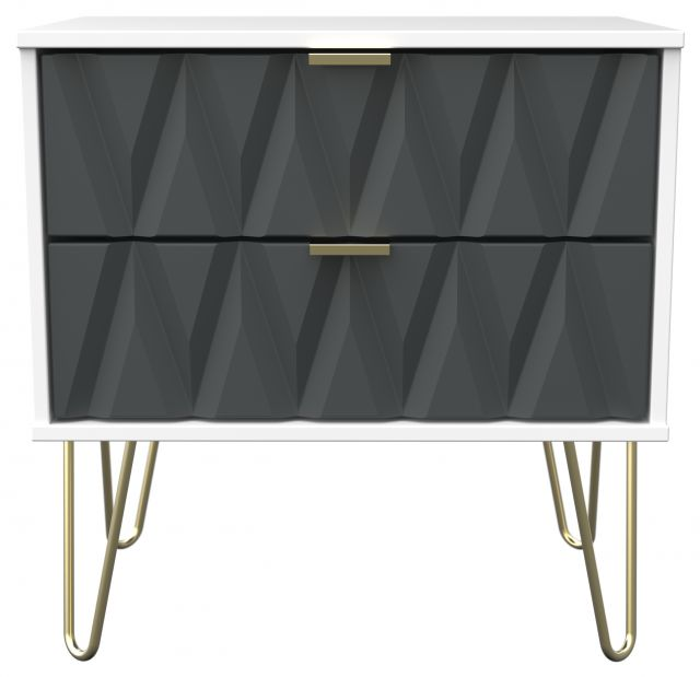 Qatar Bedroom Collection 2 Drawer Midi Chest Graphite Matt with White Matt Base