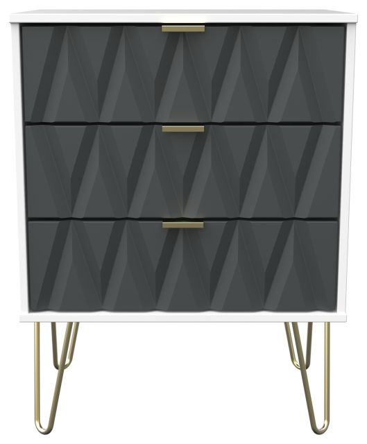 Qatar Bedroom Collection 3 Drawer Midi Chest Graphite Matt with White Matt Base