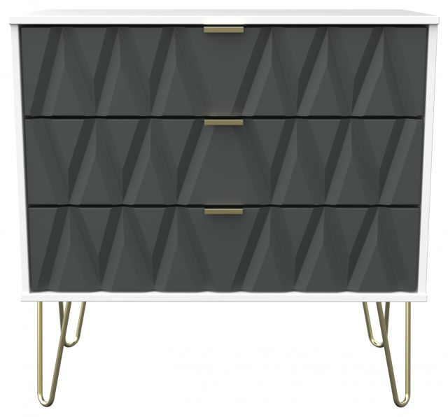 Qatar Bedroom Collection 3 Drawer Chest Graphite Matt with White Matt Base