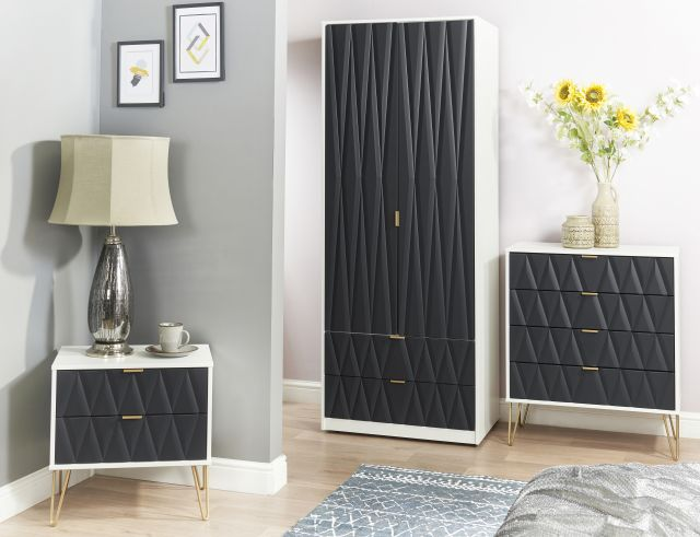 Qatar Bedroom Collection 5 Drawer Chest Graphite Matt with White Matt Base