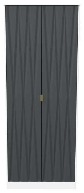 Qatar Bedroom Collection 2 Door Wardrobe Graphite Matt with White Matt Base