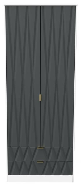 Qatar Bedroom Collection 2 Drawer Wardrobe Graphite Matt with White Matt Base