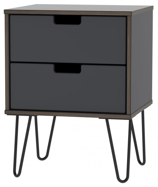 Muscat Bedroom Collection 2 Drawer Locker Graphite
