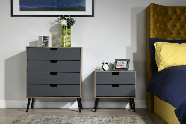 Muscat Bedroom Collection 2 Drawer Midi Chest Graphite