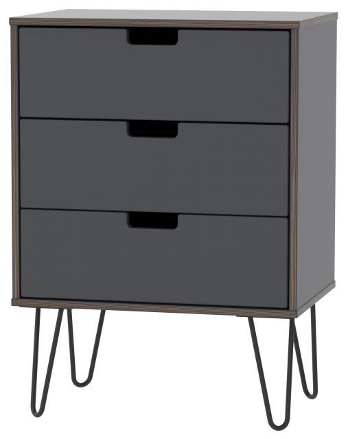 Muscat Bedroom Collection 3 Drawer Midi Chest Graphite