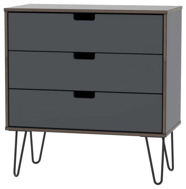 Muscat Bedroom Collection 3 Drawer Chest Graphite