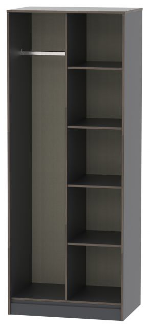 Muscat Bedroom Collection Open Shelf Wardrobe Graphite
