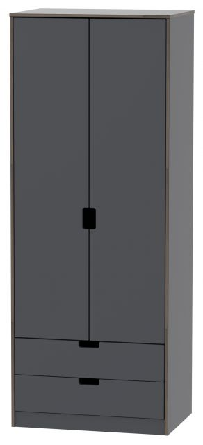 Muscat Bedroom Collection 2 Drawer Wardrobe Graphite
