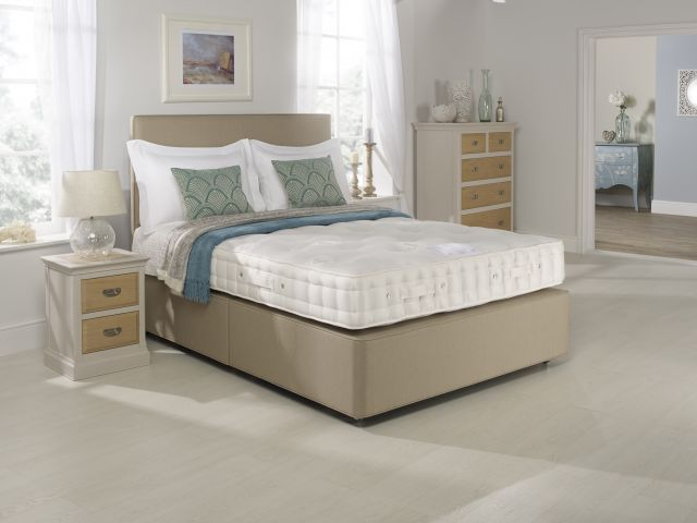 Magnolia Seasonal Turn Collection 150cm Firm Edge Open Coil Divan Base Zip & Link 2 Drawer Set /Medi