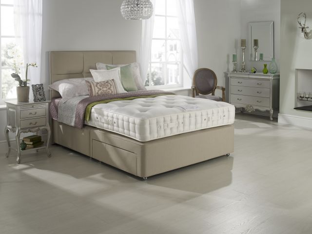 Hypnos - Larkspur Collection 180cm Firm Edge Open Coil Divan Base Zip & Link 4 Drawer Set /Medium Te