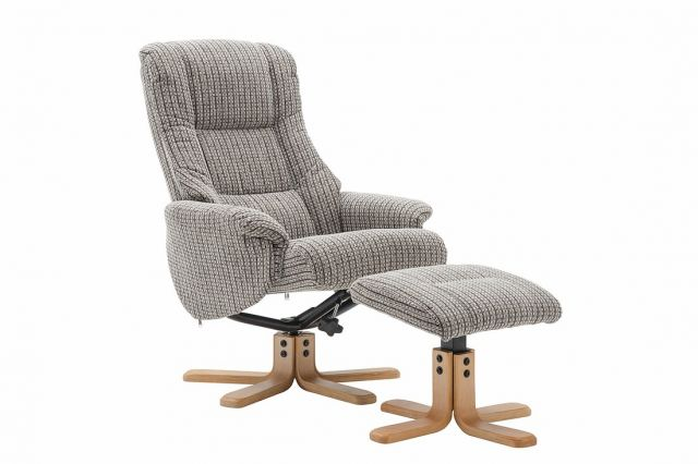 Kelso Collection Swivel Recliner Chair & Footstool - Latte Fabric - Mid Oak Star Base