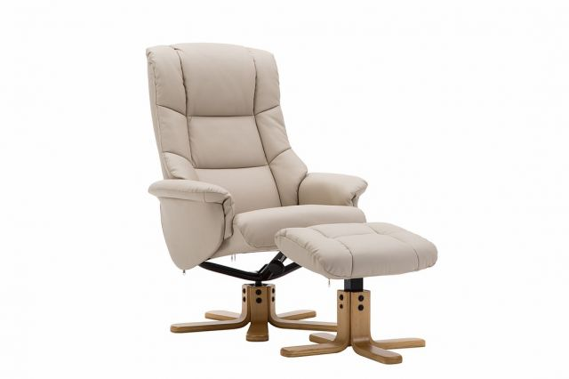 Elgin Collection Swivel Recliner Chair & Footstool - Cream - Autumn Oak Star Base