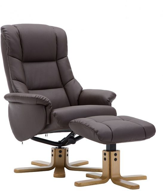Elgin Collection Swivel Recliner Chair & Footstool - Brown - Autumn Oak Star Base