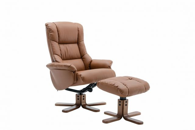 Elgin Collection Swivel Recliner Chair & Footstool - Tan - Autumn Oak Star Base