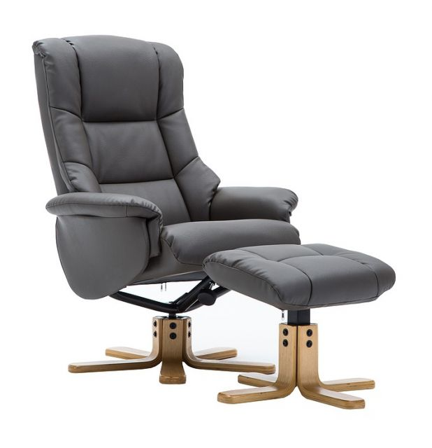Elgin Collection Swivel Recliner Chair & Footstool - Charcoal - Mid Oak Star Base