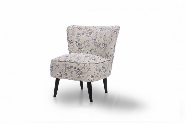 Martino Accent Chair Collection - Accent Chair - FASTRACK - Floral Cornflower - Black Legs