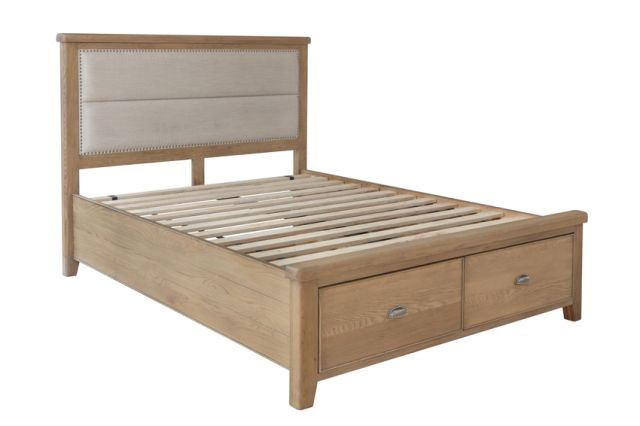 Charlbury Bedroom Collection 4'6 Bed with Fabric headboard and drawer footboard set