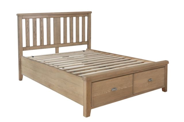 Charlbury Bedroom Collection 5'0 Bed with wooden headboard and drawer footboard set