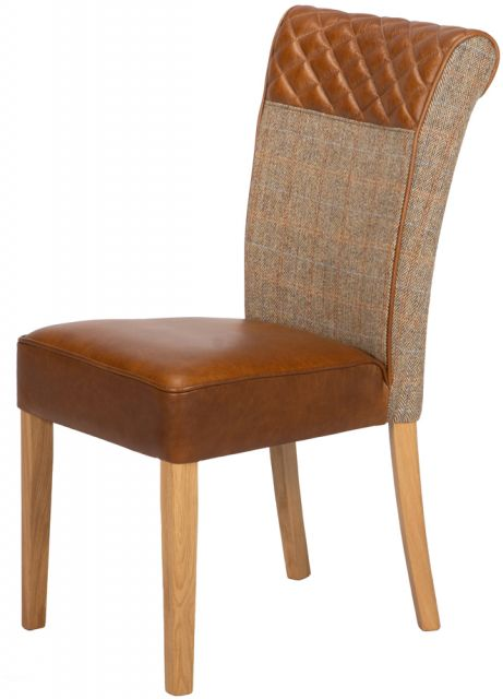 Country Collection Stamford Dining Chair -Gamekeeper Thorn / Brown Cerato  Seat Pad & Diamond Roll