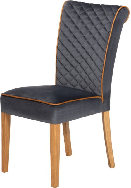Country Collection lTrafford Dining Chair -Opulence Charcoal / Brown Cerato/Lacquered Leg