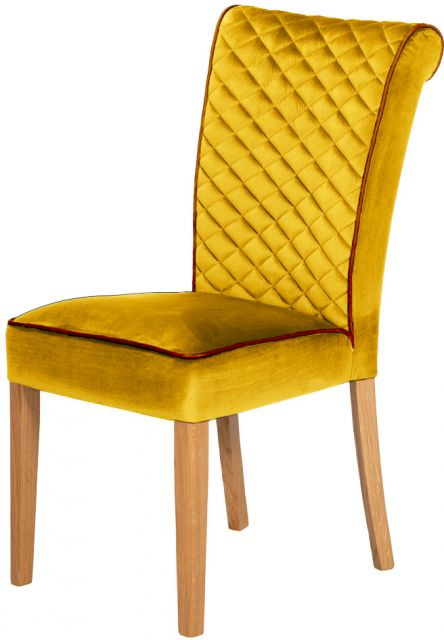 Country Collection Trafford Dining Chair - Opulence Saffron/Bartollo Piping/Lacquered Leg